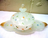 Victorian Hand Painted Milk Glass Vanity Set