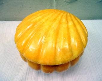 Vintage Deco G S E Ottone Garantito Butterscotch Alabaster Shell Box