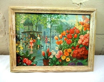 Mid Century Framed Lithograph Fabulous Spring Day