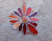 Stained Glass Flower - Handmade - Suncatcher - Orange - Red - Gift - Window Decor - Unique - Girlie