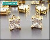 2 perfect square CZ charms, Cubic Zirconia jewelry pendant, charm bracelet, wedding jewelry supply 5109-BG-8