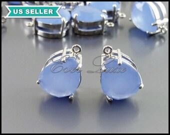 2 purple blue periwinkle glass pendants, blue and silver teardrop pendant 5067R-PW