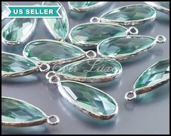 2 jewelry charm in prasiolite light green & shiny silver, long teardrop glass pendants, glass beads 5131R-PR
