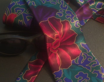 Vintage 80s Ribae Tie, Floral Mens Tie, Menswear Retro Necktie, Peacock Silk Trading Inc, Vibrant Greens Teal Purple Burgundy Magenta Gold