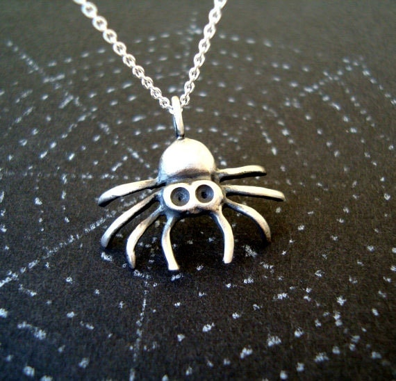 Spider Necklace Halloween necklace sterling silver Halloween Jewelry Goth Necklace Spider Jewelry Halloween Jewelry