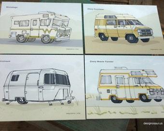 RV Classic postcards (set of 4)