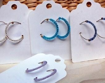 Delicate Beaded Hoop  Earring Choose Your Color