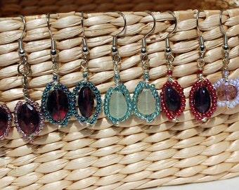 Wrapped Beaded Drop Earrings