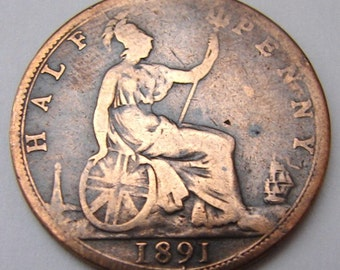 1891 BRITISH ANTIQUE United Kingdom Over 120 Years Old Queen Victoria Half Penny Bronze Coin
