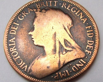 1896 BRITISH ANTIQUE United Kingdom 120 Years Old Queen Victoria Half Penny Bronze Coin