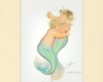"""Mermaid Babies Embrace Art Signed Robert Kline 8"""" x 10"""" Matted Print Baby Room Nursery Beach Nautical Decor Expectant Mother Materity Gift"""