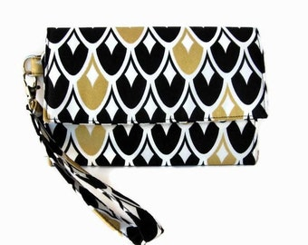Black and Gold Phone Trifold Wristlet Wallet - Black Cushioned Cell Phone Wristlet - Smartphone Wallet - iPhone Wallet - Fabric Clutch