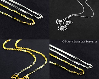 "5 Pcs Nickel Free -  High Quality Golden/ Silver Plated Long Chain Necklace ,16"" / 18""/ 30"" Length Optional  (W104-B)"