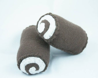 2 swiss cake rolls, pretend food, plush pretend kitchen, childs pretend kitchen, swiss cake rolls, pretend, childrens toy