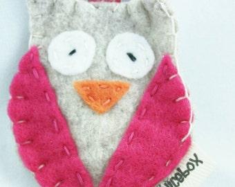 Owl Keychain, felt owl keychain, keychain, charcoal owl, woodland keychain, pink owl