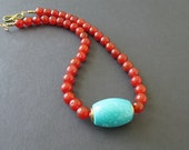 Red Agate Necklace Gemstone Bead Necklace Jewelry Turquoise Necklace Chunky Gemstone Necklace, Red Beaded Necklace Beaded Statement Necklace