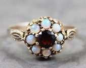 Vintage Early 1990s English Garnet and Opal 9k Gold Ring