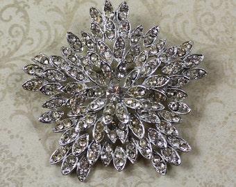 Vintage Clear Rhinestone Silver Starburst Brooch