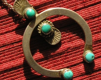 Stamped Southwest Sterling Silver Turquoise Naja Necklace