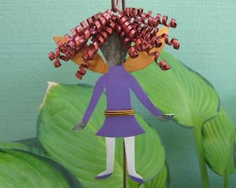 Metal garden art fairy stake reclaimed metal yard sculpture purple