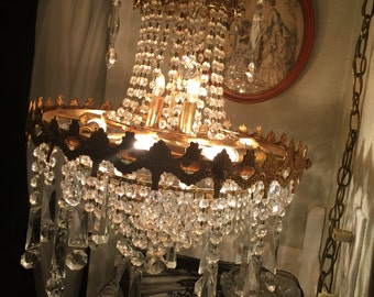 Chandelier Gorgeous Ready to plug in Hanging Lamp Vintage Beautiful Prismss