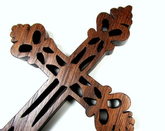 Cross / Ornate / Mid Size 7 inch / Walnut Wood