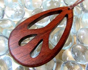Peace Sign Pendant / Brazilian Cherry Wood / Design A