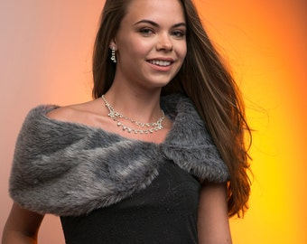 "Custom 8"" wide faux fur custom bridal faux fur shoulder wrap Winter wedding shaw Also available in other colors"