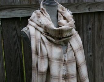Blanket Scarf - Fringed Plaid Flannel Scarf in Cream, Camel, Grey Flannel Wrap
