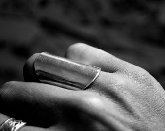 Bague longue en argent massif, long ring sterling silver
