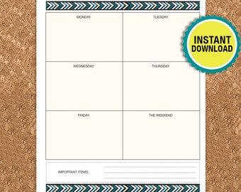 Weekly Planner Printable, Undated Weekly, A5, 5.5 x 8.5 Half Size, Week Day Organizer, DIY Planner PDF Instant Download