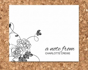 Personalized Vintage Floral Eco Friendly Notecards / Personalized Stationery / Custom Notecard / Custom Gift (Set of 8 Flat)