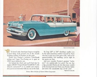 Vintage PONTIAC 870 Station Wagon Strato Streak V8 Automobile Ad, July 1955 National Geographic Original Illustration