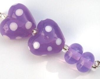Purple Polka Dot Lampwork Glass Heart Beads
