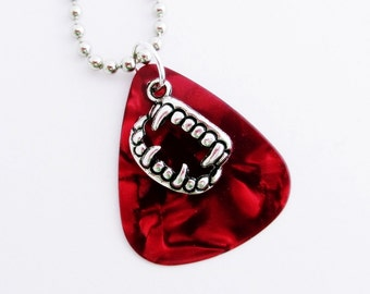 Guitar Pick Necklace Vampire Teeth Red Pearloid