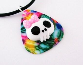 Guitar Pick Necklace Pink Tie Dye Mosaic Girlie Kawaii Skull