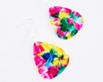 Guitar Pick Earrings Pink Mosaic Tie Dye or Your Choice of Color