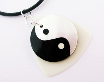 Guitar Pick Necklace Yin Yang Black and White