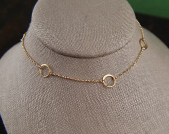 Tiny gold linked circles and 14 karat gold filled necklace, tiny circles necklace, infinity necklace, simple gold necklace, gold ring
