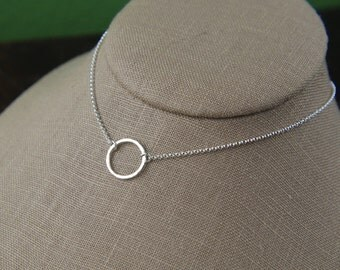 Hammered circle ring necklace in sterling silver, sterling silver ring, hammered ring, circle necklace, eternity link, hammered jewelry