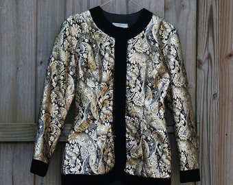 Gold Metallic Brocade and Velvet Talbots Jacket (M/8)