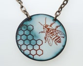 Bee Necklace. Honey Bee and Honeycomb on Mottled Green Enameled Circle on Brass Chain. Vitreous Enamel Jewelry
