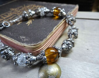 Honey Butter. Crackled Frosted & Amber Crystal beaded autumn bohochic bracelet