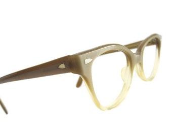 Vintage 50s HornRim Satin Brown Fades Cateye Eyeglasses Eyewear Frames AmericanOptical