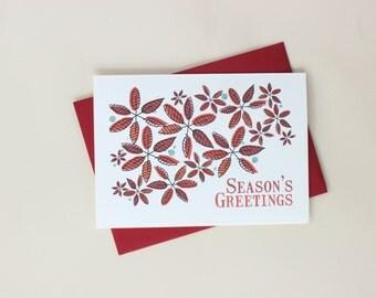Poinsettia Pattern Modern Holiday Card Set