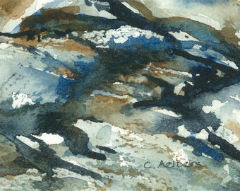 Abstract Art Original Watercolor Painting 4 x 6
