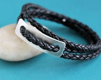 Mens Leather Wrap Bracelet, Sterling Silver, Black Braid