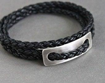 Mens Leather Wrap Bracelet, Sterling Silver, Black Braid