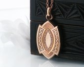 Victorian Pendant | Antique Rose Gold Necklace | Large Fob Pendant | Rose Gold Fill | Geometric Patterns - 20 Inch Rose Gold Chain Included