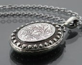 Antique Locket Sterling Silver | Engraved Ivy Leaves | Large Oval Victorian Locket | Photo Locket necklace - 34 Inch Long Chain Included